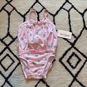 NWT Baby Girl Cat & Jack Pink Kiwi Swimsuit 6-9